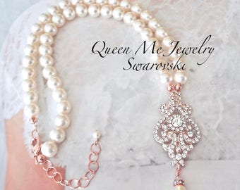 Rose gold pearl necklace Rose gold crystal necklace Rose gold pearl necklace Wedding necklace Brides necklace Statement necklace Jewelry MIA