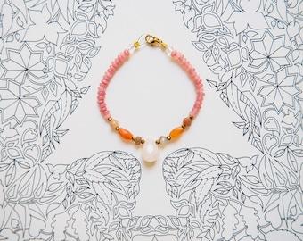 Rose Quartz, Moonstone, Carnelian, Red Jade, Crystal Quartz Bracelet, Gold Plated Clasp, Orange, Pink, Feminine