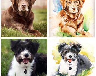 "Original watercolor - Delivery free ""request custom order Portrait Custon"" (pet cat dog pet rabbit)"