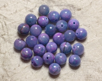 10pc - stone beads - Jade blue and pink balls 8mm 4558550021502