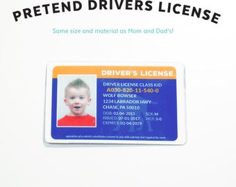 Kids Pretend Play - Drivers License - Kids Pretend License - Kids ID - Kid License - Dog - Puppy - Unique Gift - Kids Birthday Gift