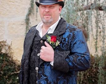 Blue and Black Frock Coat, Men's Coat, Frock Coat, Wedding, Steampunk, Victorian, Renaissance, Pirate, Halloween, Costume, Dickens