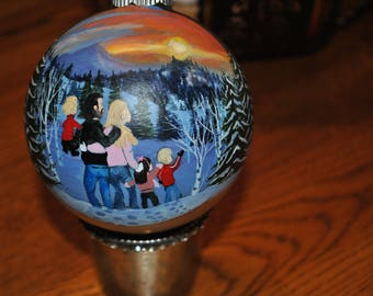 Custom Family Memory Ornament done from custom request order, hand painted ornament ..sold