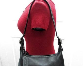 Vintage Coach Zip Top Black Leather Satchel, Coach Black Leather Shoulder Purse, Coach Black Leather Hand Bag
