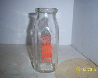 "1965 Gulf Hill Dairy with Cow Barn South Dartmouth, Mass PYRO 1/2 pint milk dairy farm bottle 5 3/8"" TAll"