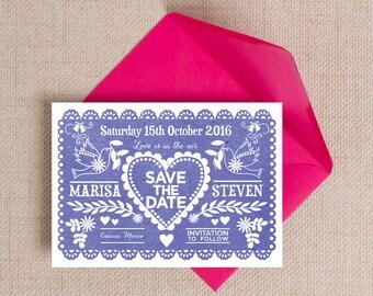 Indigo Blue Papel Picado Mexican Bunting Wedding Save the Date Cards
