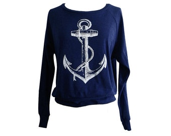 ANCHOR Raglan Sweatshirt - Nautical Sailor Sweater SOFT vintage feel - Available in sizes S, M, L