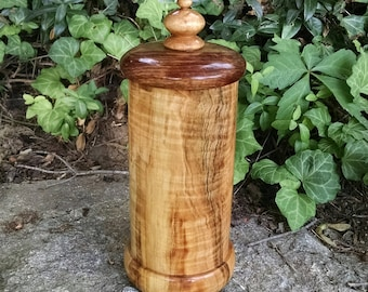 Wood Box with Lid - Hand Turned Lidded Wooden Box - Maple and Chechen Woods Wooden Box with Lid - Wood Canister