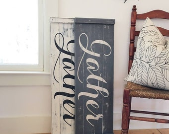 """GATHER SIGN, Rustic Gather Sign, Wood Gather Sign, Large Gather Sign, Dining Room Signs, Dining Room Decor, Fixer Upper Decor, 36""""x12"""""""