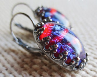 Dragon's Breath Mexican Opal Fuchsia Blue Flame Glass Oval Stone Plated Brass Dangling Leverback Statement Earrings