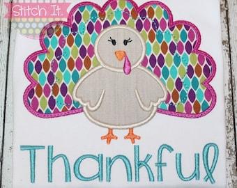 Girls Personalized Turkey appliqued shirt - Fall - Thanksgiving - Turkey - Baby - Girls - Holiday