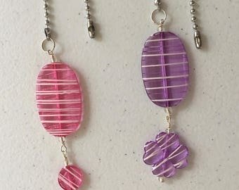 Fan Pull Chain  and Light Pulls handmade with acrylic flat beads