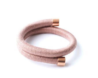 Cotton Wrapped Pink Bracelet - Rope, Cotton, Copper - Modern Bangle - Contemporary Design - Pink Rope Bracelet - Gift for Her