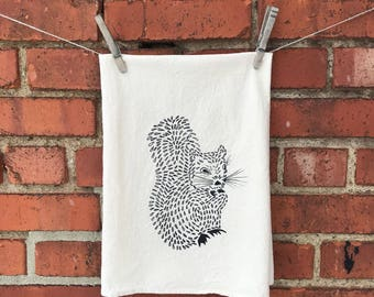 Flour Sack Tea Towel, Dish Towel, Hostess Gift screen printed with a Squirrel