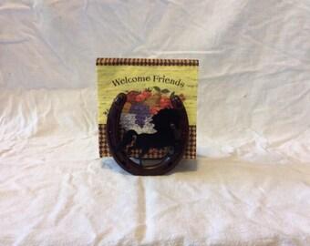 Lucky Horseshoe Napkin Holder / Letter Holder / Picnic Table Rustic Art