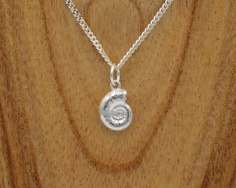 Small Ammonite Pendant - Sterling Silver