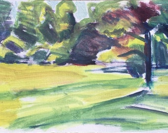 In the garden, summer 2017, ORIGINAL oil colors on heavyweight paper landscape painting by Shirley Kanyon, 8x19.1 inch, 21.5x48.5 cm
