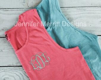 Monogram tank, Comfort Colors, Comfort Colors Tank, Comfort Colors Monogram, Monogrammed Tank,  bridesmaid gift