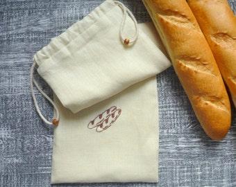 Linen baguette bag, Linen french bread bag, Linen bread bag for two baguettes.