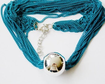 Necklace silver ball - multiple chains - teal