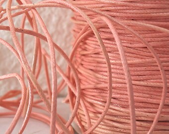 6yds Cord Waxed Cotton 1mm Light Peach String Lace Jewelry twine 1mm Craft Cord Macrame String for Bracelet and Necklace