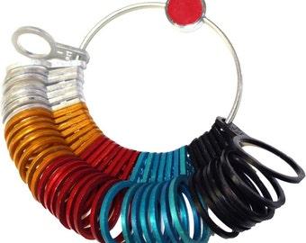 36 Piece Universal Ring Sizer Gauge in Multi-color Aluminum: TJ-99751