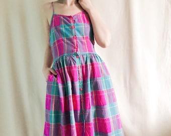 Vintage Rainbow Plaid Dress // L