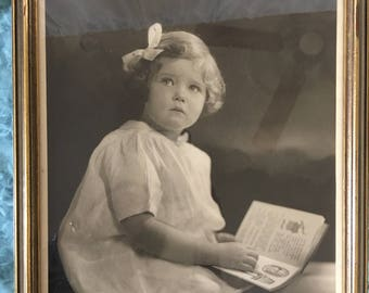 Vintage Picture of Little Girl by Bachrach, Burt Bachrach's Father, Photographer. Little Girls Last Name is Poole. Black and White in Gold.