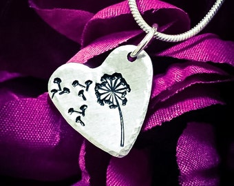 Dandelion & Fluff Hand Stamped Necklace. Heart Necklace, Heart Jewelry, Dandelion Necklace, Dandelion Jewelry, Wish Necklace, Wish Jewelry