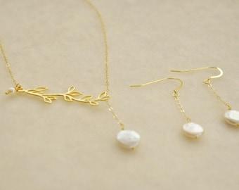 Or Olive Branch réglable Lariat ensemble de bijoux avec des perles d'eau douce - ensemble cadeau de demoiselles d'honneur, bijoux de mariage, boucles d'oreilles