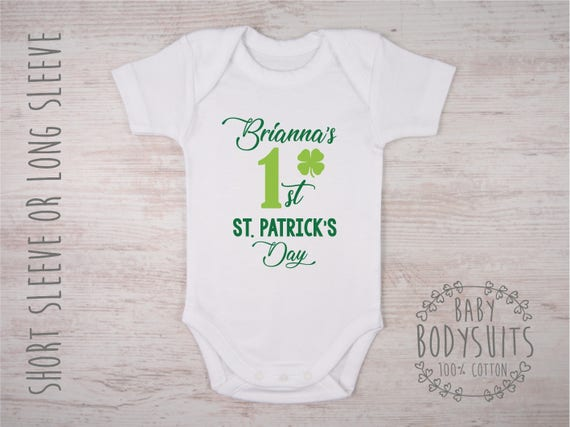 Babys first st patricks day outfit personalized my like this item negle Gallery