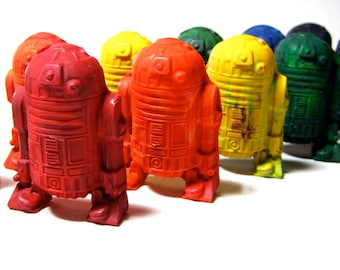 Kids ROBOT Crayons - Star Battle Robot Crayons - Set of 6 Recycled Crayons (Solid Color Recycled Rainbow Crayon Set) - Valentines Gift