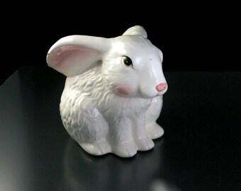 Bunny Rabbit Planter, White, Figurine, Porcelain, Collectible