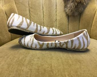 Glitter flats. Zebra ballet flats. Gold and white.