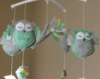 SALE!!! Gorgeous owl cot/crib mobile owl musical mobile felt owl mint grey lullaby felt owl mobile decorations nursery decor music mobile