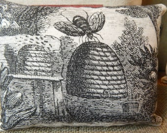 Bee Hive - Bee Skep - Decorative Pillow - Vintage Bee Skep Image