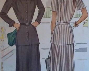 Vintage 40s Waist Waist Yoked Button Front Turnback Cuff Jacket Skirt Suit Sewing Pattern 7296 B34