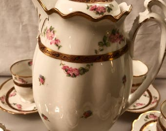 Spectacular set of M&Z  China Austria Carlsbad Rare Antique Tea or Hot Chocolate Pot and Six Cups and Saucers IMACULATE .