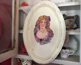 Shabby Chic Ivory Oval Metal Tray Victorian Woman Lavender Flowers 3D Art Wall Plate Decor Victorian Style Painted Decoupage Gift Idea OOAK