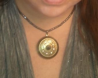 Victorian Inspired Locket Necklace, Exquisitely Detailed Antiqued Gold, Black & White Swarovski Crystal, Hematine Chain, Mandala, Vintage
