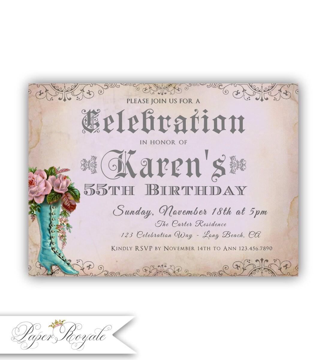 Adult Birthday Invitations / 55th Birthday Invites / 50th 60th