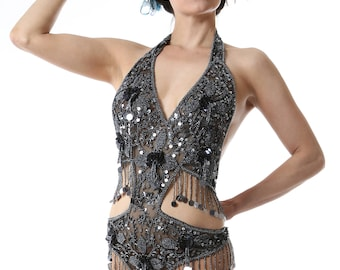Embellished Grey Sequin Showgirl Body