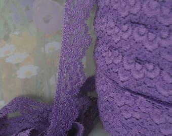 3yds Purple Stretch Lace Trim Elastic Scolloped edge 5/8 inch lace Elastic Stretch Lace Headband Single side Lingerie Lace Trim RLzz