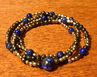 """Lapis, Pyrite, and Brass Necklace 28"""""""