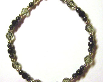 Sterling Silver and Black Crystal Beaded Bracelet