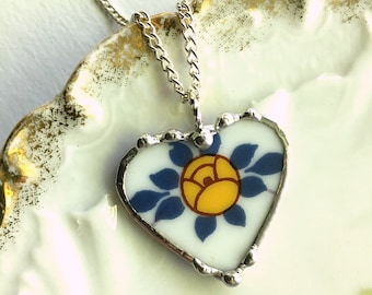 Broken China Jewelry - broken china heart pendant- broken china necklace, antique porcelain Art Nouveau, yellow rose, Dishfunctional Designs