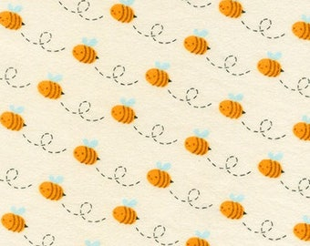 Bumble Bees on Ivory FLANNEL From Robert Kaufman's Woodland Hideaway from Moira Hershey