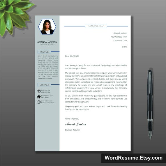 Resume Template With Photo Cover Letter / CV Template Word