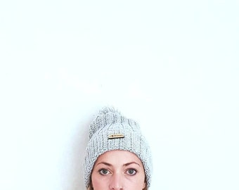 Handcrafted grey marl ribbed winter hat