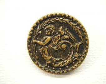 """Antique Victorian FAIRY Faerie Button 1 5/16""""  ANIMAL CHARITY Donation"""
